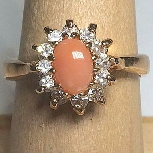 Gold Peach Coral Halo Cocktail Ring Size 8 Dainty